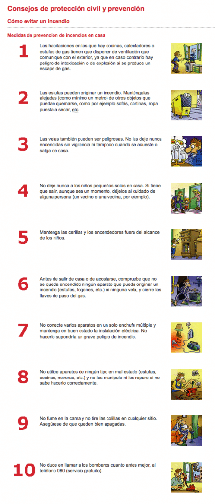 Bomberos de Barcelona - Decálogo de la Prevención de Incendios en viviendas